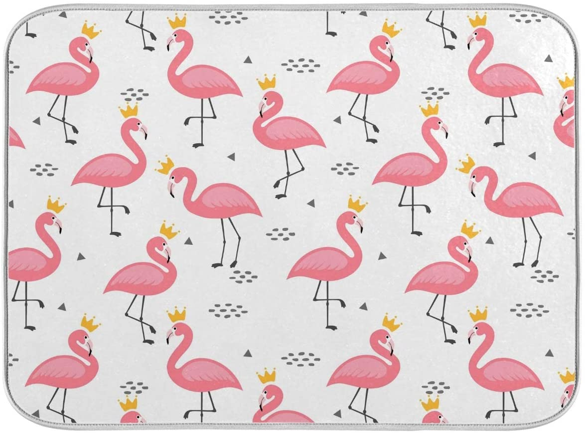 CaTaKu Tropical Flamingo Polka Dots Dish Drying Mat for Kitchen Foldable Reversible Microfiber Absorbent Easy Clean Heat Resistant Dishes Drying Rack Pad 18x24inches