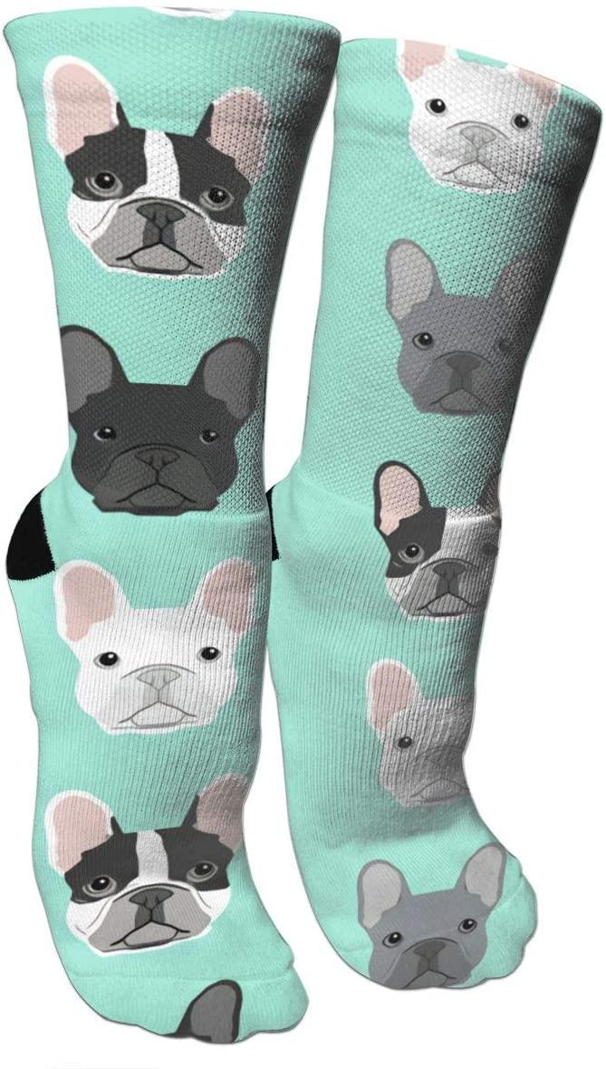 antspuent French Bulldog Dog Puppy Dog Compression Socks Unisex Fun Novelty Crazy Dress Crew Socks