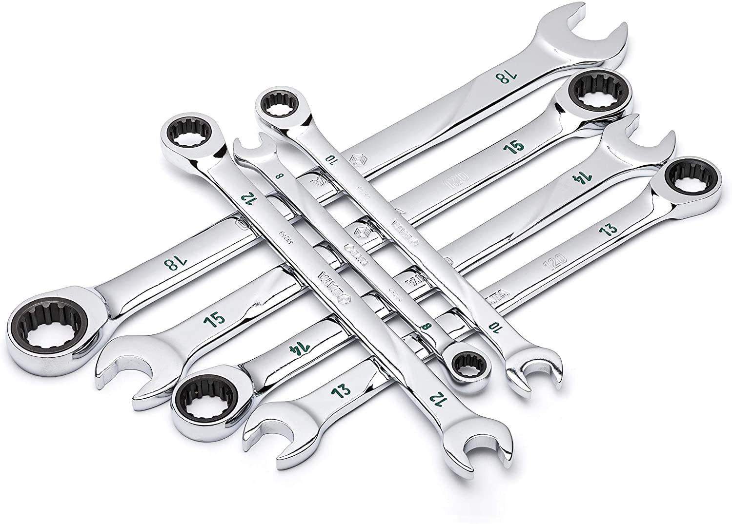 SATA 7-Piece SAE 120P Professional Combination Ratcheting Wrench Set with Universal Spline Drive and 120 Opening Positions, 5/16 to 3/4-Inch - ST08044U
