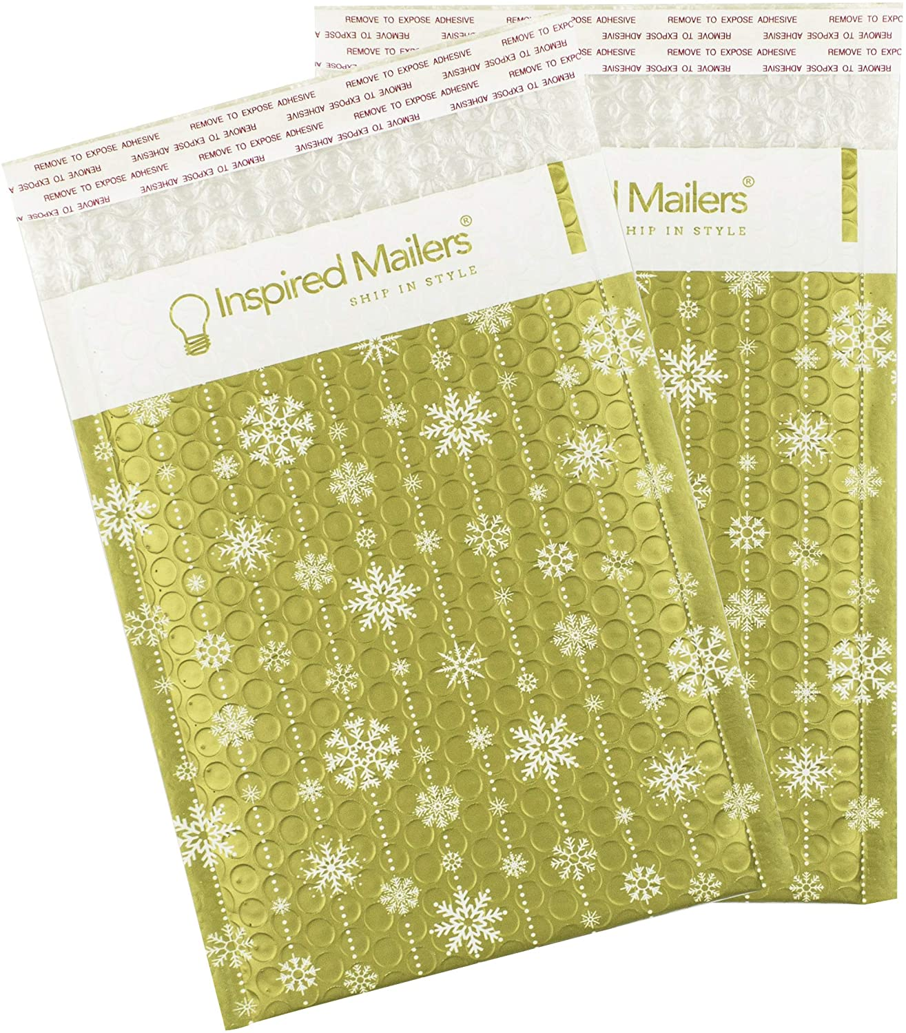 Inspired Mailers - Bubble Mailers 6x9 (Writable Area) - Golden Winter Snowflakes - Holiday Bubble Envelopes 6x9 - Small Padded Envelopes (6x9, 10 Pack)
