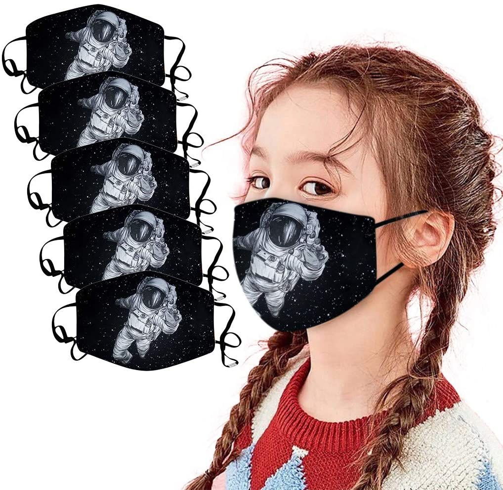 (US Shipping 7-15 Days) Children Spaceman Print Face_Mask Protective Breathable Reusable Washable Mascara Cotton Anti Pollen Pollution Dustproof Masque for Unisex Outdoor Activities Sports 5PC