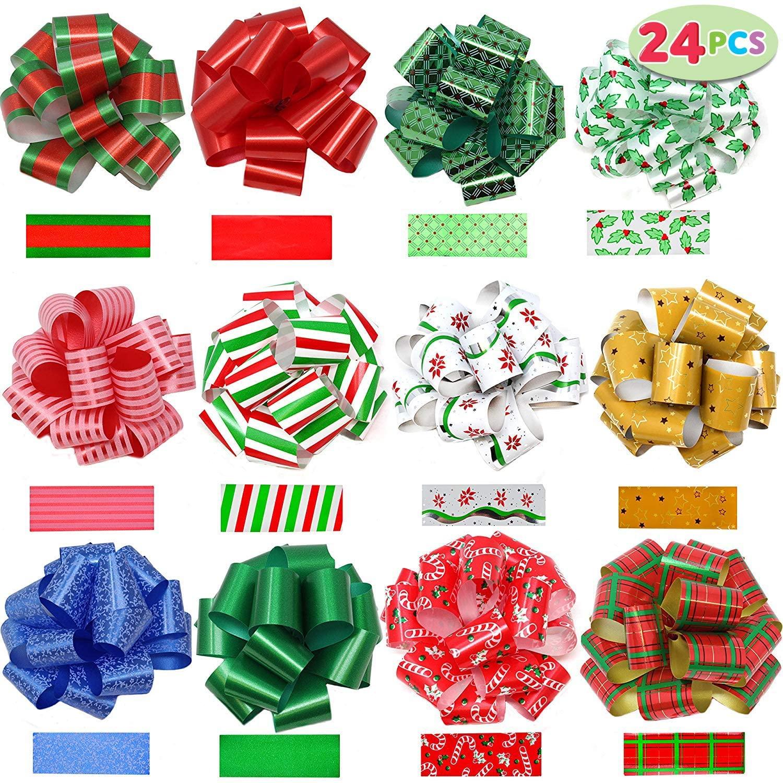 JOYIN 24 Pieces Christmas Gift Wrap Ribbon Pull Bows (5