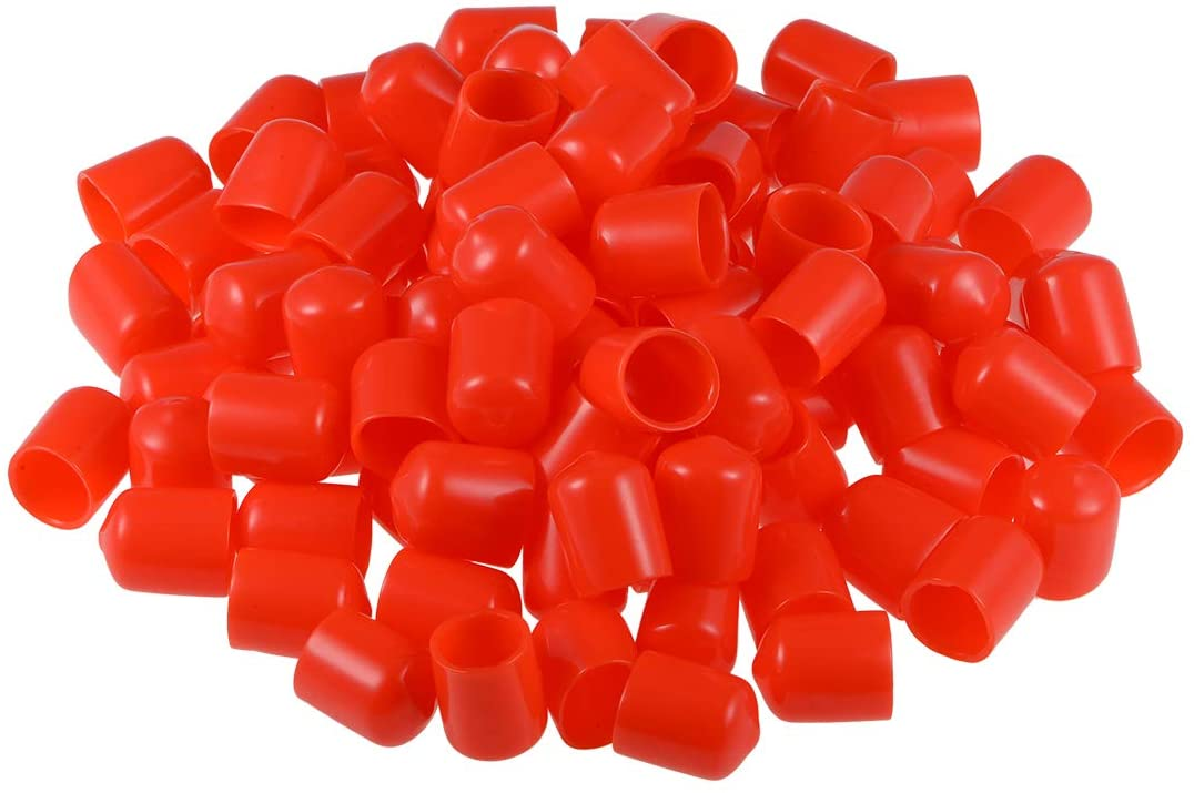 uxcell 100pcs Rubber End Caps 14mm ID Vinyl Round Tube Bolt Cap Cover Thread Protectors 25mm Long, Red