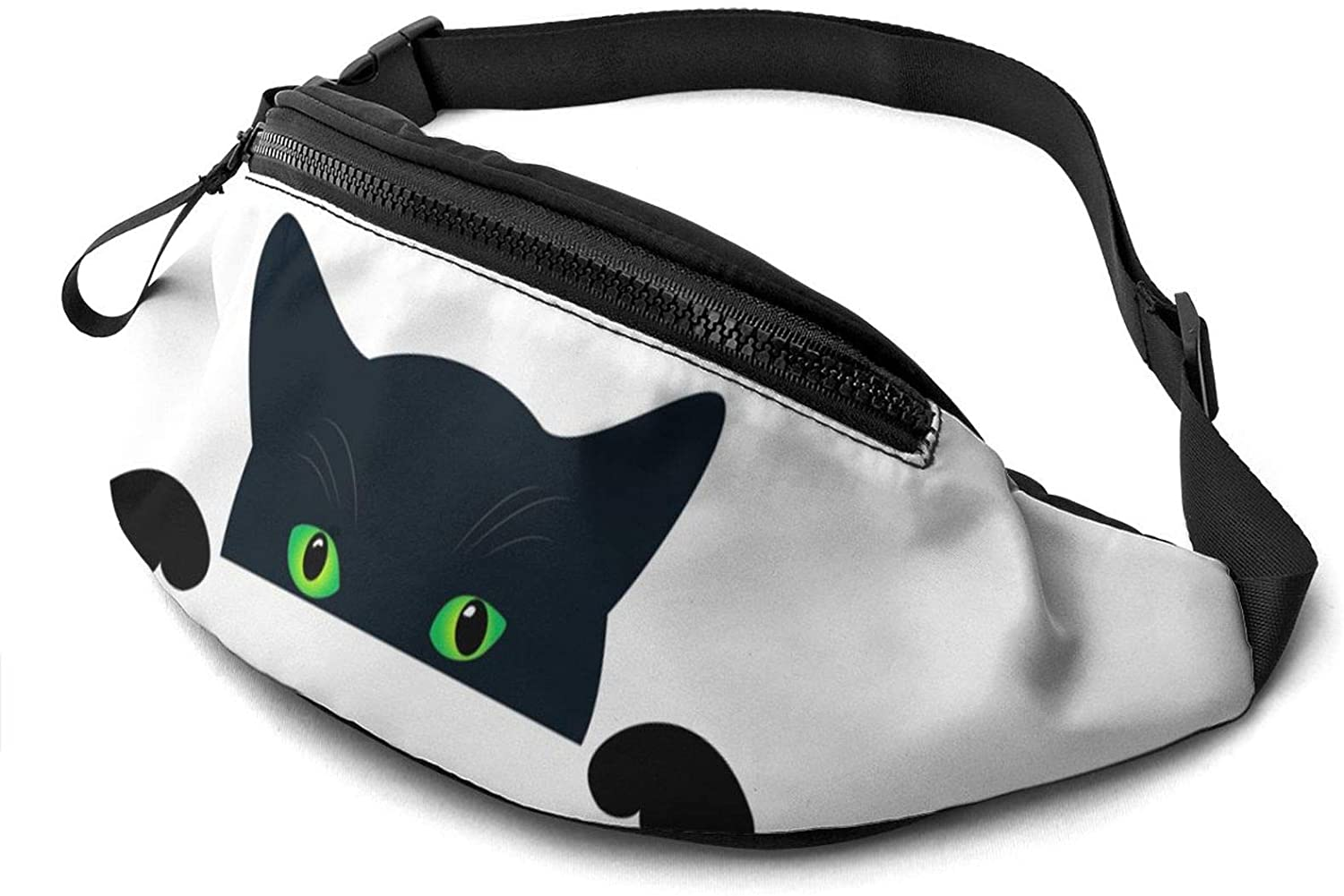 Dujiea Fanny Pack, Cute Black Cat Face Waist Bag with Headphone Hole Belt Bag Adjustable Sling Pocket Fashion Hip Bum Bag for Women Men Kids Outdoors Casual Travelling Hiking Cycling