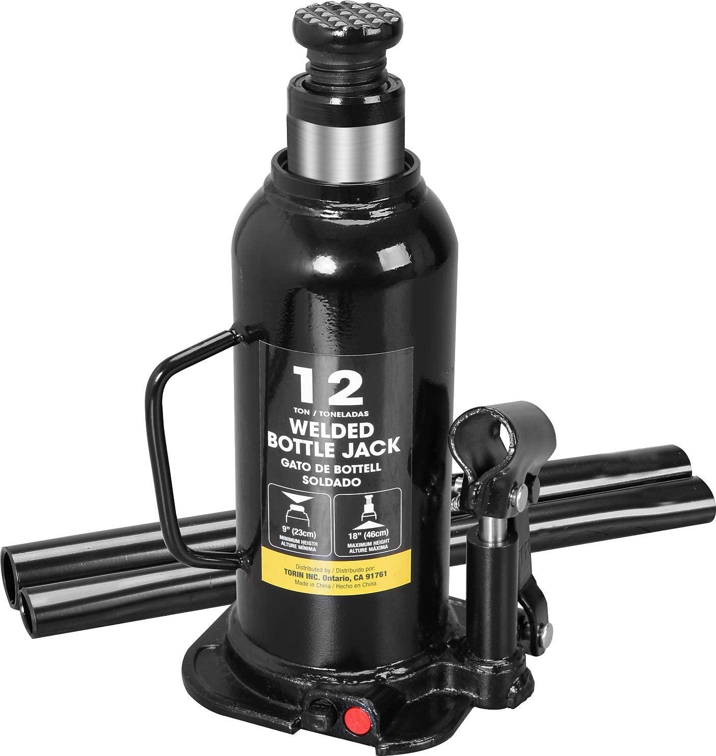 Torin AT91203BB Hydraulic Welded Bottle Jack, 12 Ton (24,000 lb) Capacity, Black