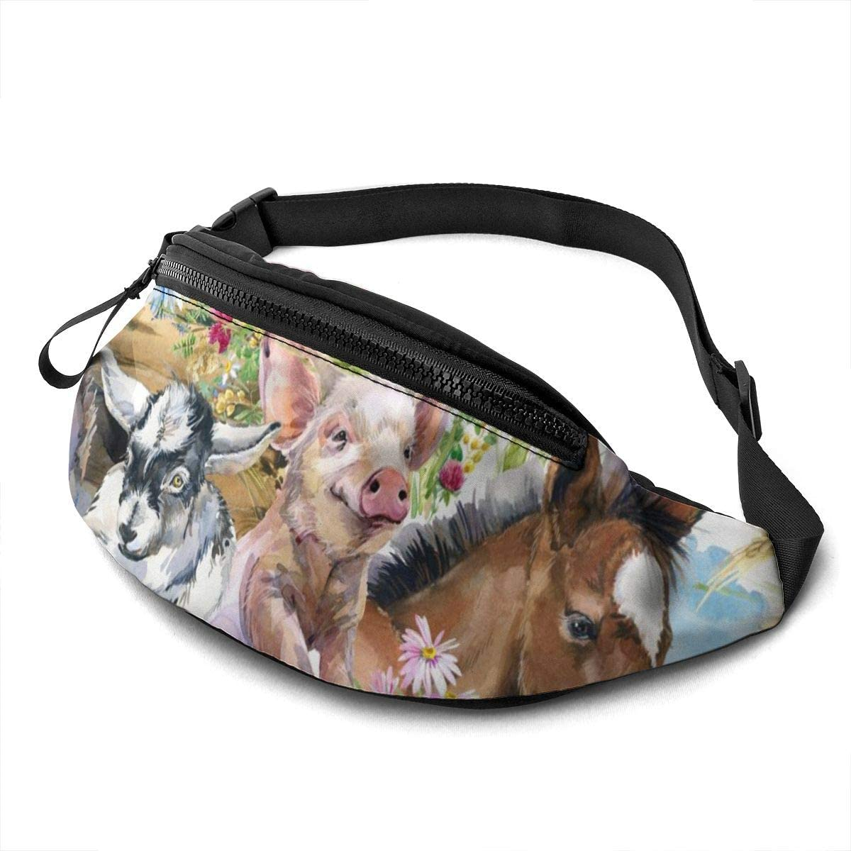Dujiea Fanny Pack, Farm Animals Waist Bag with Headphone Hole Belt Bag Adjustable Sling Pocket Fashion Hip Bum Bag for Women Men Kids Outdoors Casual Travelling Hiking Cycling