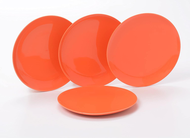 O-Ware Orange Stoneware 8 Inch Salad Luncheon Plate, Set of 4