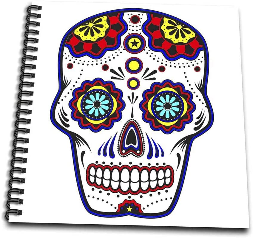 3dRose db_186237_2 Sugar Skull, Red, Blue and Yellow Memory Book, 12 by 12-Inch