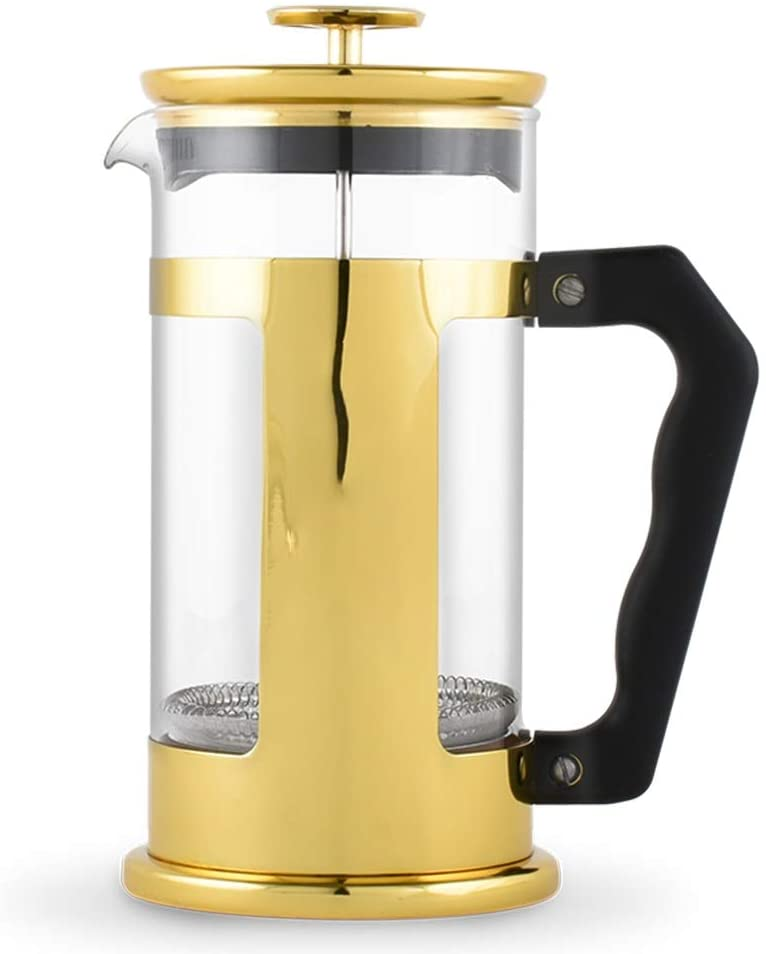 French Press Pot Coffee Appliance French Press Pot Set Hand Made Coffee Filter Pot Tea Filter Cup French Presses (Color : Gold, Size : 350ml)