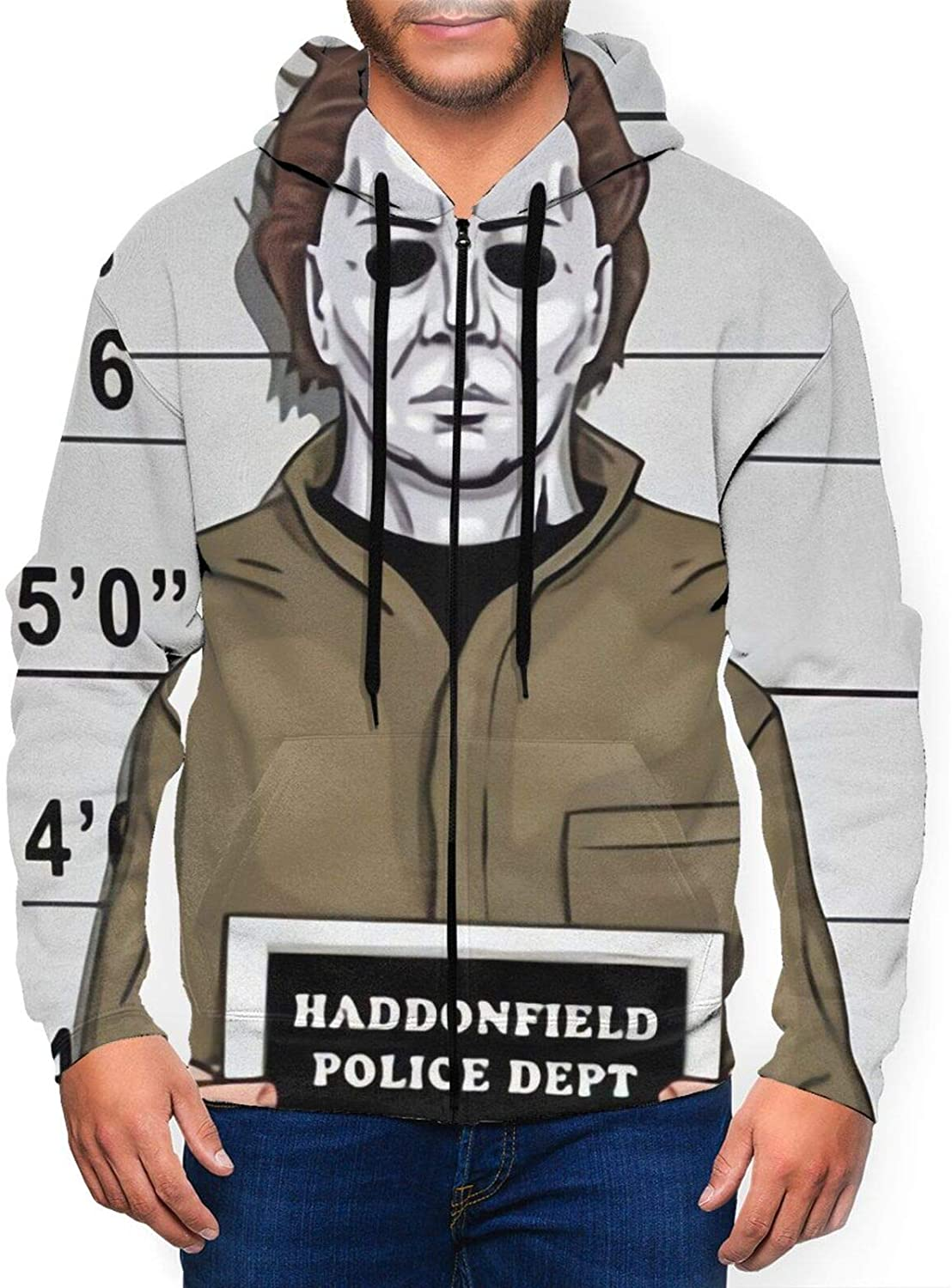 Michael Myers Horror Movie The Massacre Machine Men's Fashion Zipper Hoodie Hooded Pocket Sweater Casual Pullover