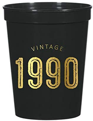 Vintage 1990 Cups for a 30th Birthday Party, Set of 10 Plastic Stadium Cups, Funny Fun Gag Gift 30th Birthday Decoration