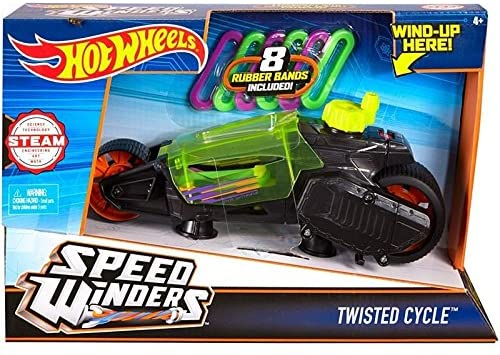 Hot Wheels Speed Winders Twisted Cycle Vehicle, Yellow
