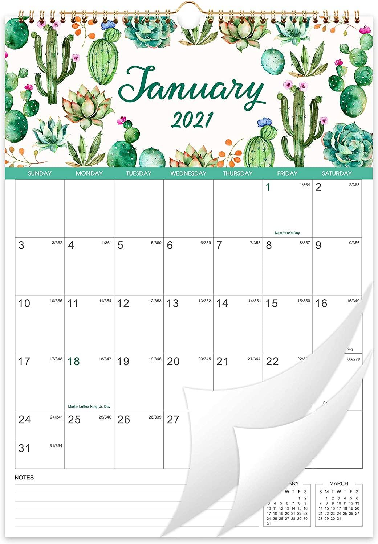 Calendar 2021-12 Monthly Wall Calendar Planner Jan 2021 - Dec 2021, 12