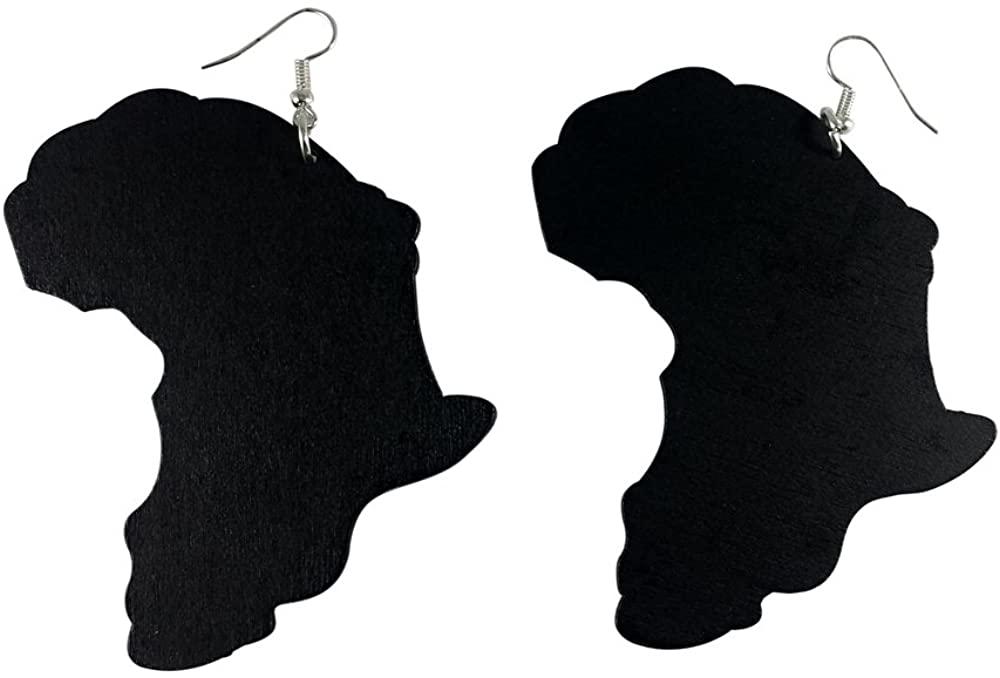 Africa Earrings (Map)/Natural Hair Earrings/African American Woman Earring/African Wood Jewelry