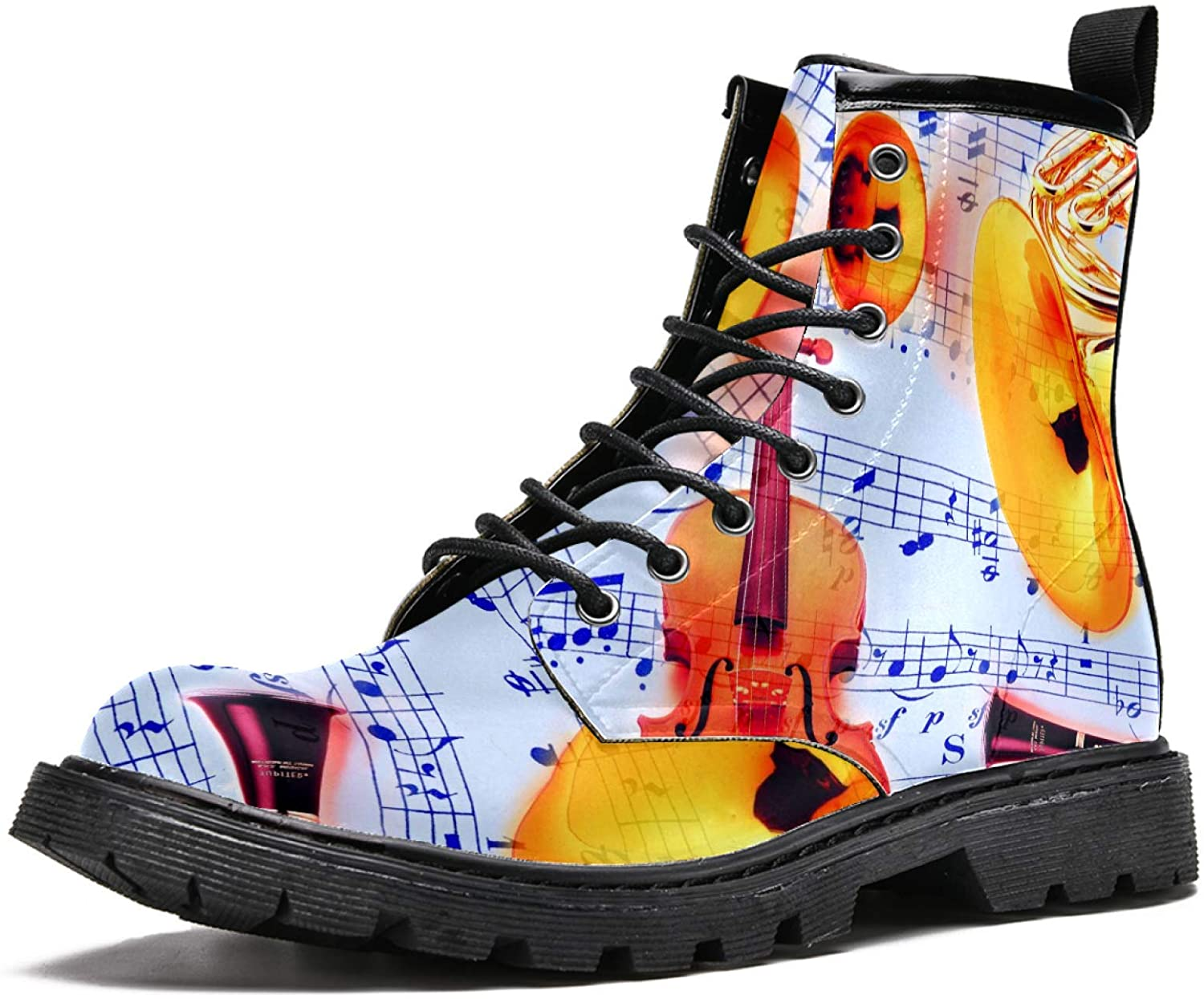 LORVIES Classical Music Instruments and Notes Men's High Top Boots Lace Up Casual Leather Ankle Shoes