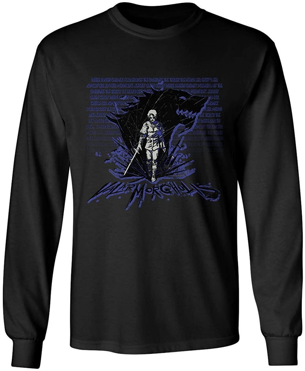 RIVEBELLA New Graphic Shirt Arya Stark Valar Morghulis Novelty Tee Thrones Men's Long Sleeve T-Shirt