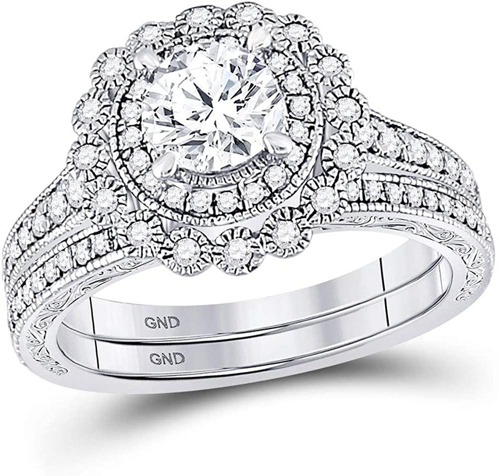 14k White Gold Round Diamond Bridal Wedding Ring Band Set 1-1/5 Cttw