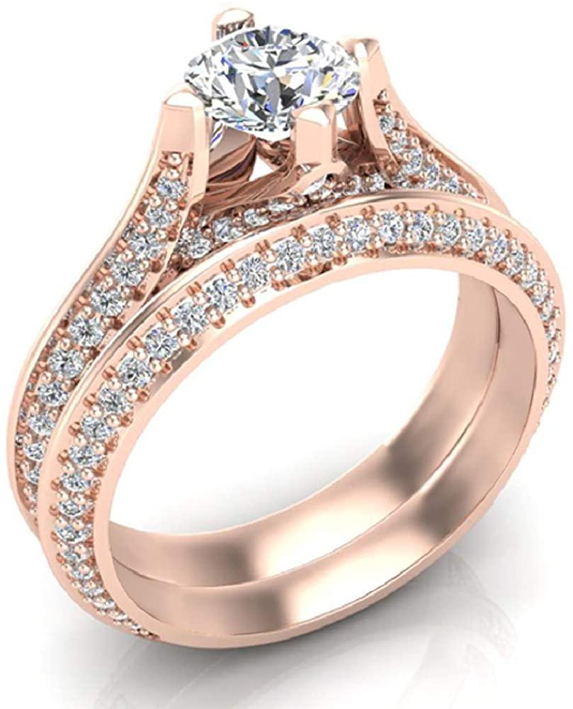 1.55 ct tw Round Cut Knife Edge Shank Diamond Wedding Ring Set 18K Gold - GIA Certificate