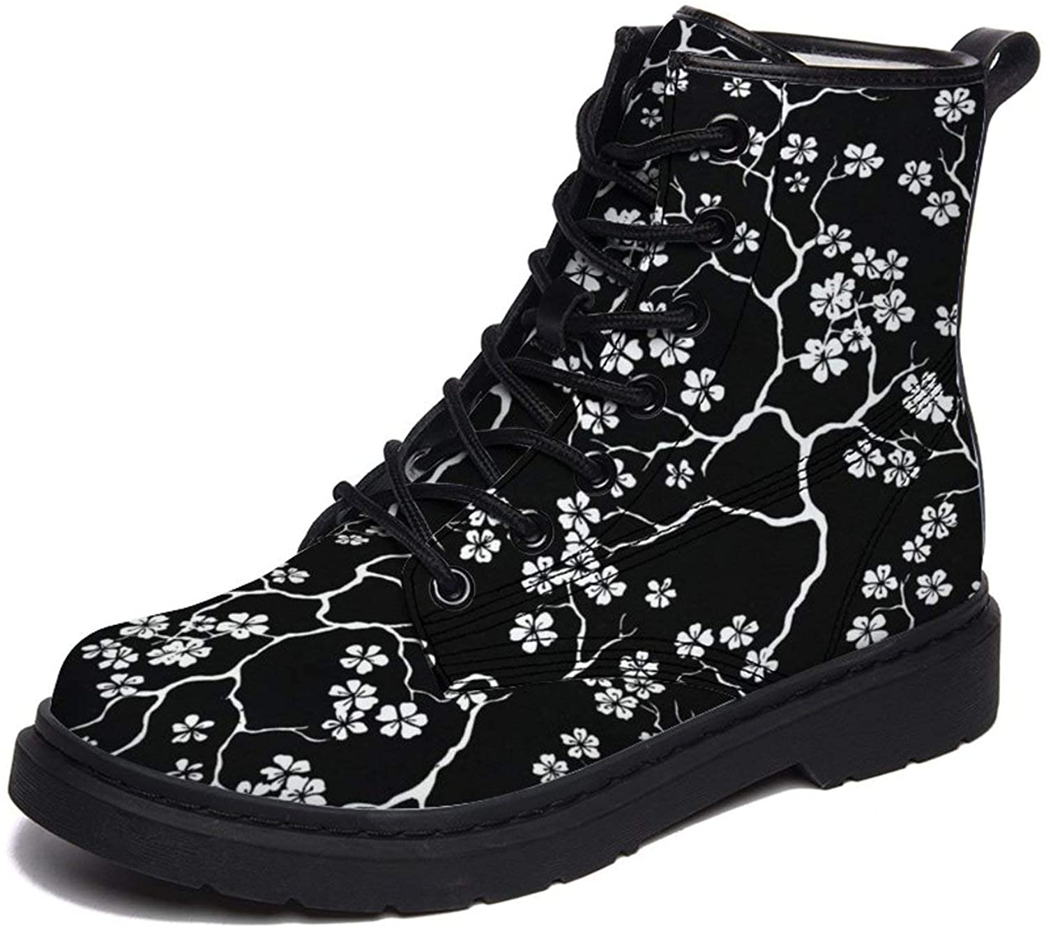 Cherry Blossoms Floral Black Men's Snow Boot Fur Lined Ankle Booties Waterproof Walking Shoes for Men Women