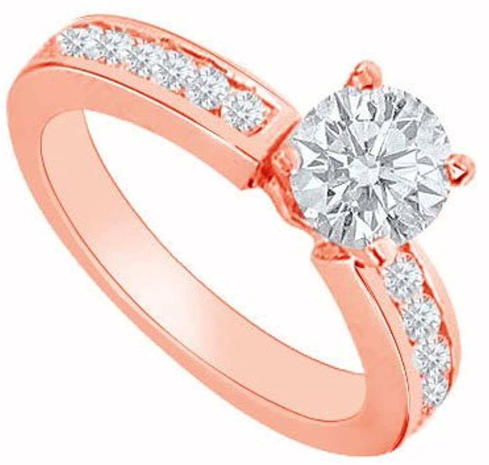 April Birthstone Diamond Engagement Ring in 14K Rose Gold 0.80 CT TDW