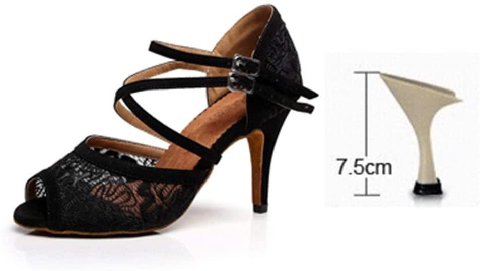 KTAIS Women Ballroom Latin Dance Shoes Black Red Salsa Tango Bachata Dance Shoes Heels 5/6/7.5/8.5cm Suede Sole (Color : Black 75mm, Shoe Size : 6)