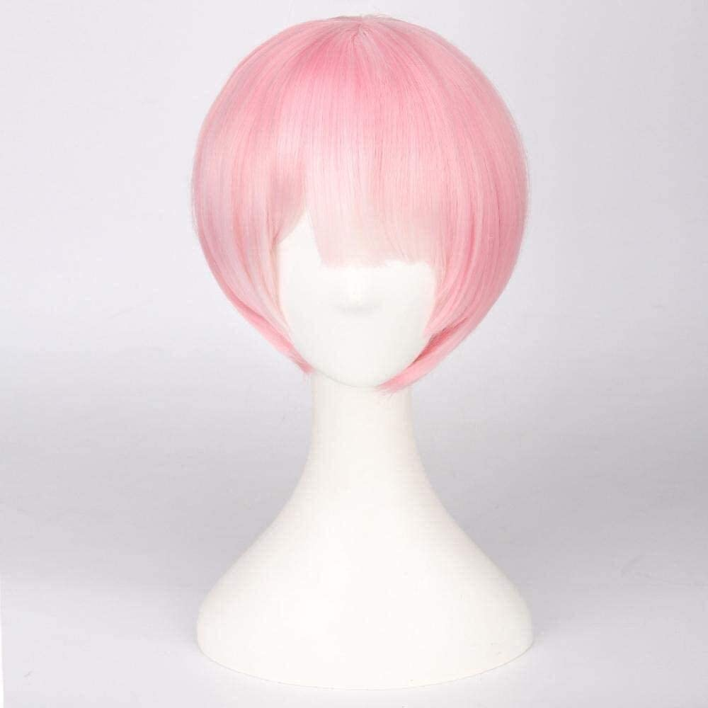 XKstyle Blue Pink Short Wig Cosplay Costume Heat Resistant Hair Lady Wig (Color : Pink)