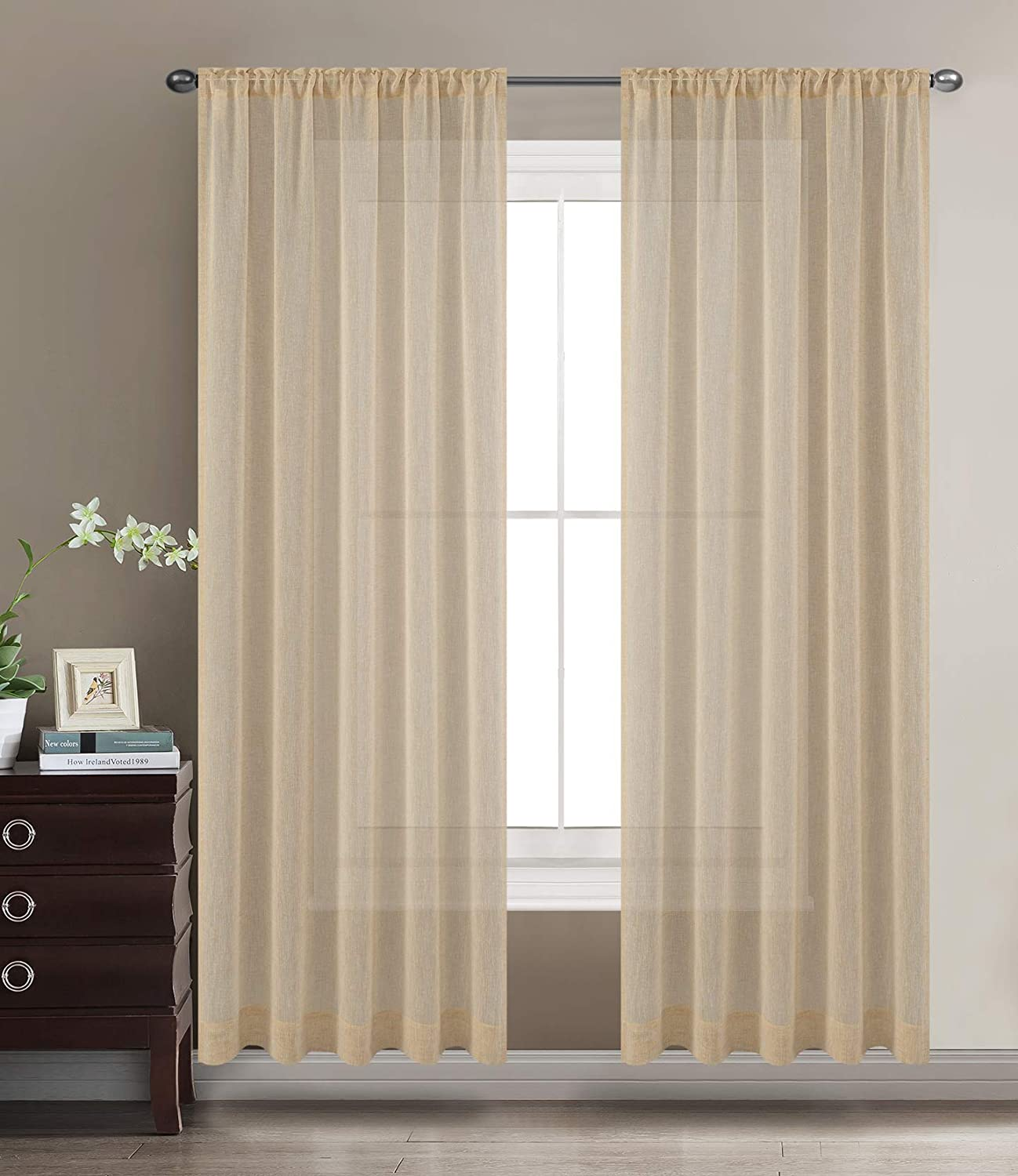 TEXPLUS Set of 2 Pieces Rod Pocket and Back Tab Solid Faux Linen Sheer Curtain Panels with Tie Backs (Mellow Yellow, 2x52 Wx84 L)