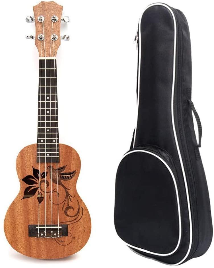Tuuertge Ukulele for Beginner 21 Inches Mini Wood Traditional Soprano Ukulele Uke Hawaii Kids Small Guitar with Gig Bag for Kids Students Beginners Musical Instrument Gifts Ukulele with Bag