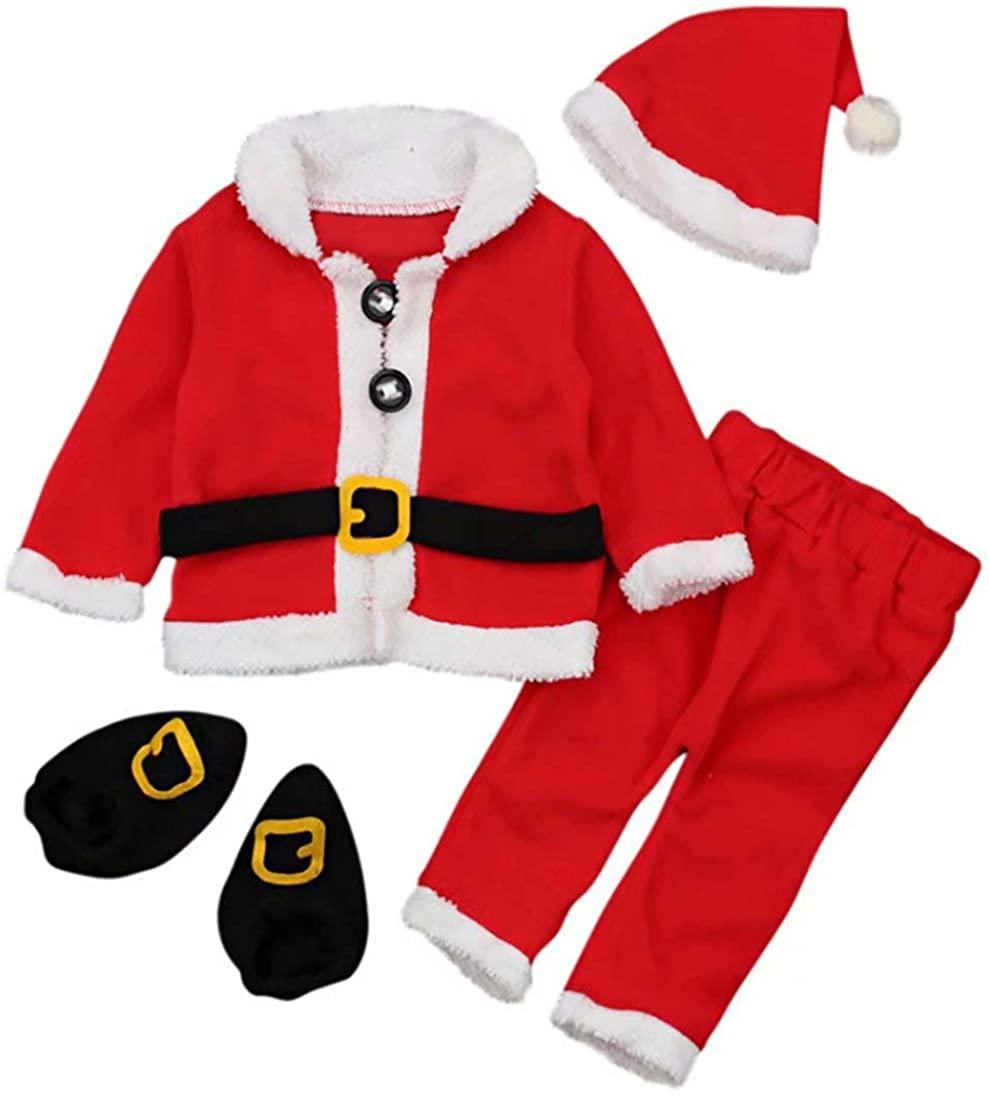 4PCS Infant Baby Santa Christmas Tops+Pants+Hat+Socks Outfits Costumes