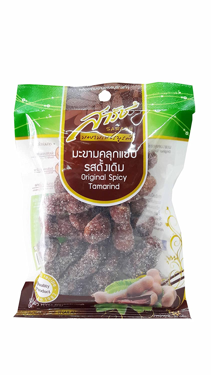 4 Packs of Original Spicy Tamarind, Selected Premium Delicious Snack By Sarach From Phetchabun Province, Thailand (90 G./pack)