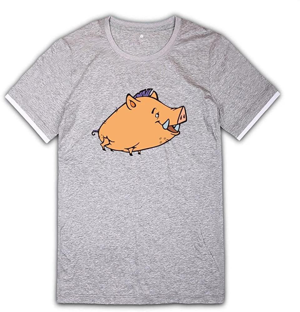 Yinldg Mens Designed Cotton Round Neck Cartoon Pig T Shirts