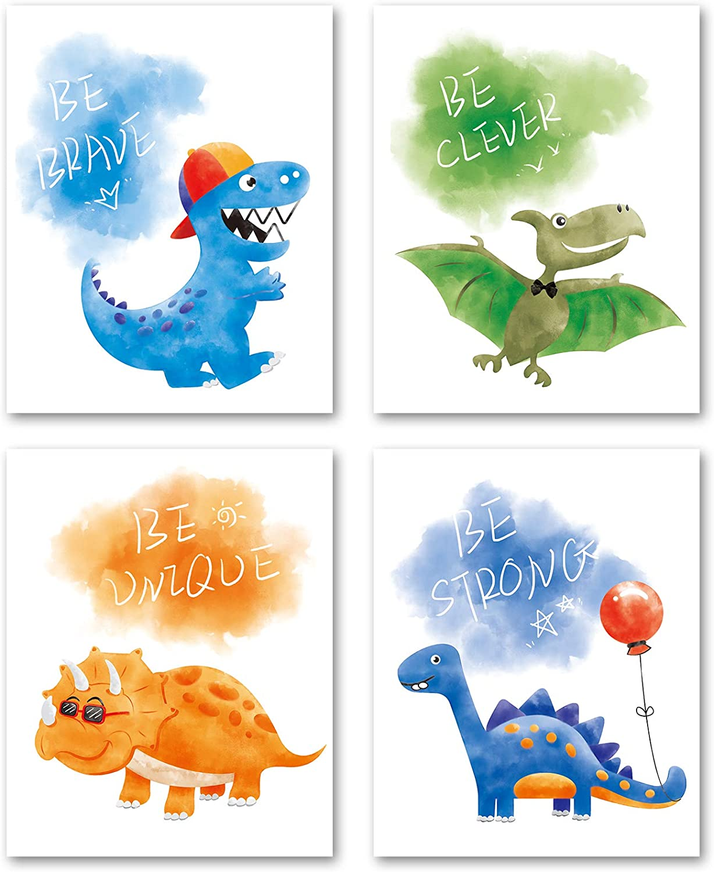 "WERNNSAI Dinosaur Wall Decor - Dino Wall Art Print for Boys Kids Nursery Bedroom Decorations 4 PCS 8""X10"" Dinosaur Watercolor Posters Unframed Pictures"