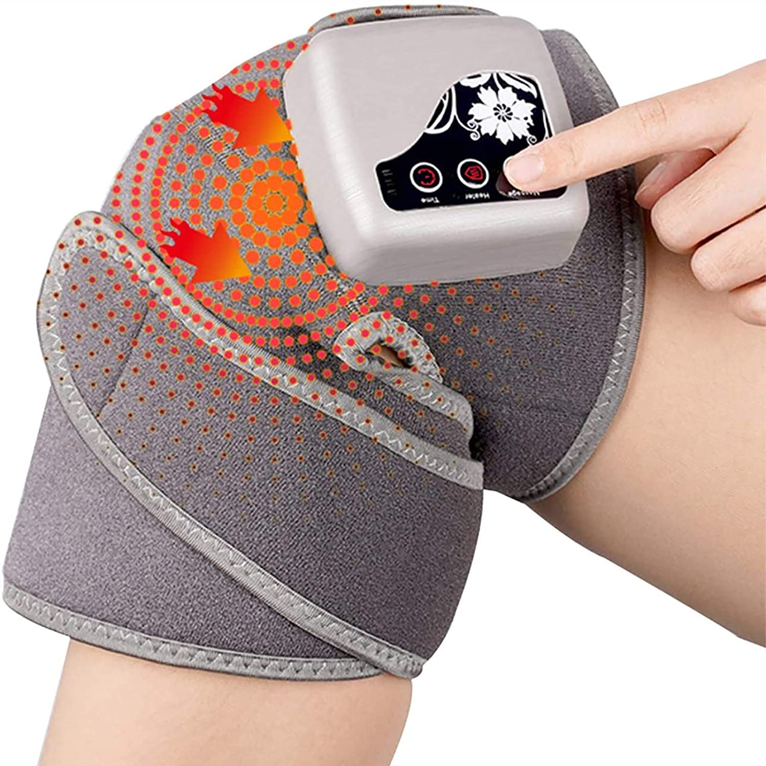 BTTHWR Heated and Vibration Knee Massager Brace Wrap, 3 in 1 Rechargeable Electric Heating Pad Massage for Knee Shoulder - Joint Muscles Arthritis Injury Pain Relief (Single Pack)