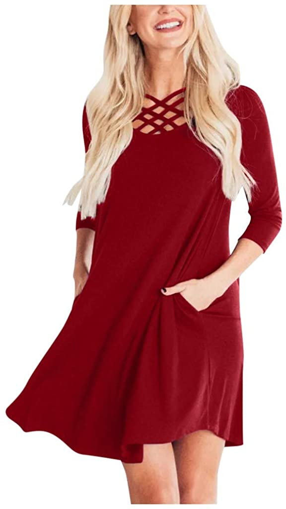MoonHome Women's Elegant Long Sleeve Dress Casual Tie Waist Sweater Dresses Casual Short T Shirt Dress with Pocket