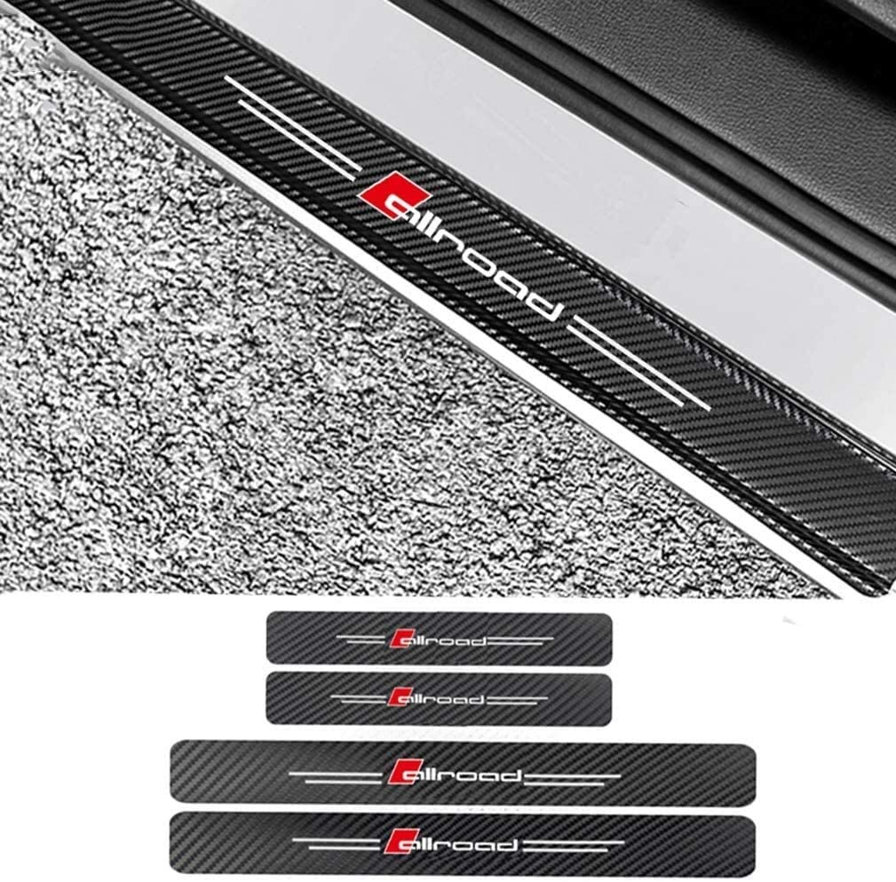 4 Pcs External Carbon Fiber Leather Car Kick Plates Pedal For Audi A4 A6, Door Sill Welcome Pedal Plate Protector Sticker Kick Scuff Threshold Bar Protective Stickers Strips Car threshold protection s