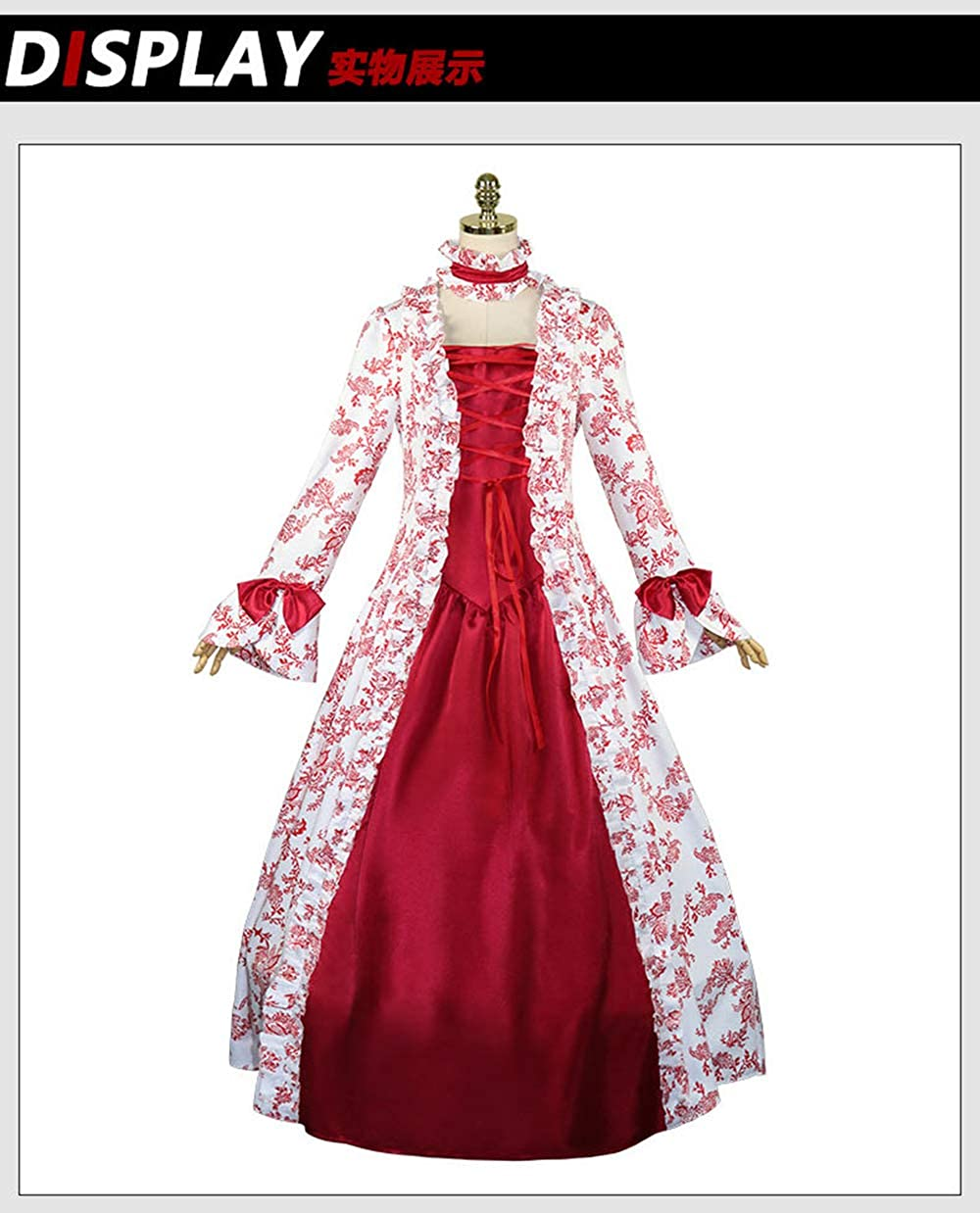 Quenny Halloween Cosplay Costume, Renaissance Medieval Victorian Dress.2 Pieces.
