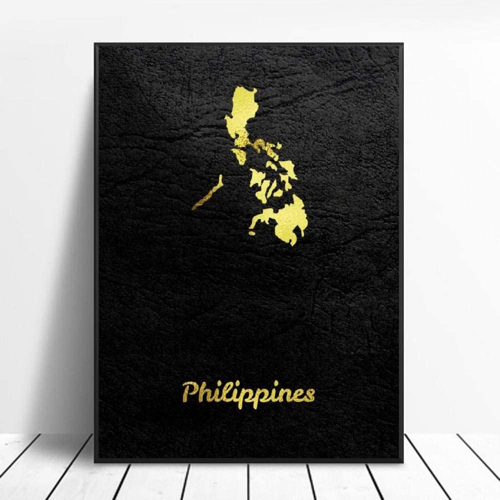 Canvas Painting Wall Art Golden Map Philippines City Art Canvas Poster Modern Simple Retro Art Latitude Longitude Picture Home Decoration Hd Print Poster,For Living Room Bedroom,No Frame 30×40Cm