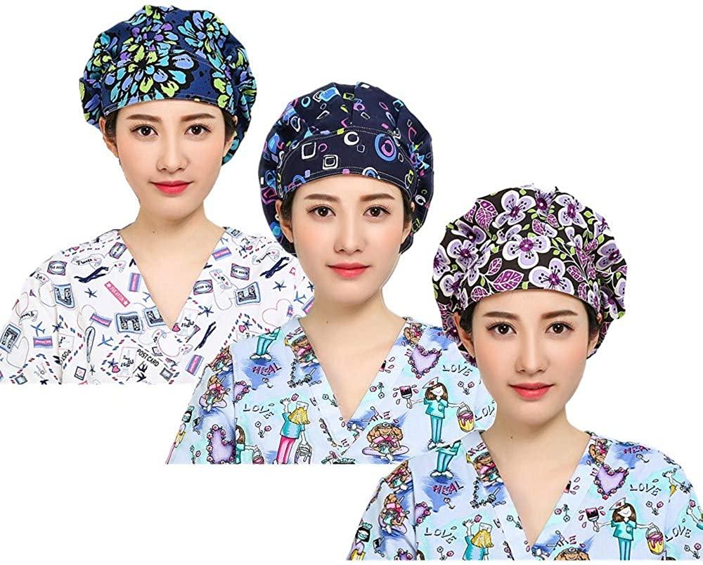 LTifree 3pc Women's Adjustable Bouffant Caps Hats Working Cap Sweatband Value Set Multi Color