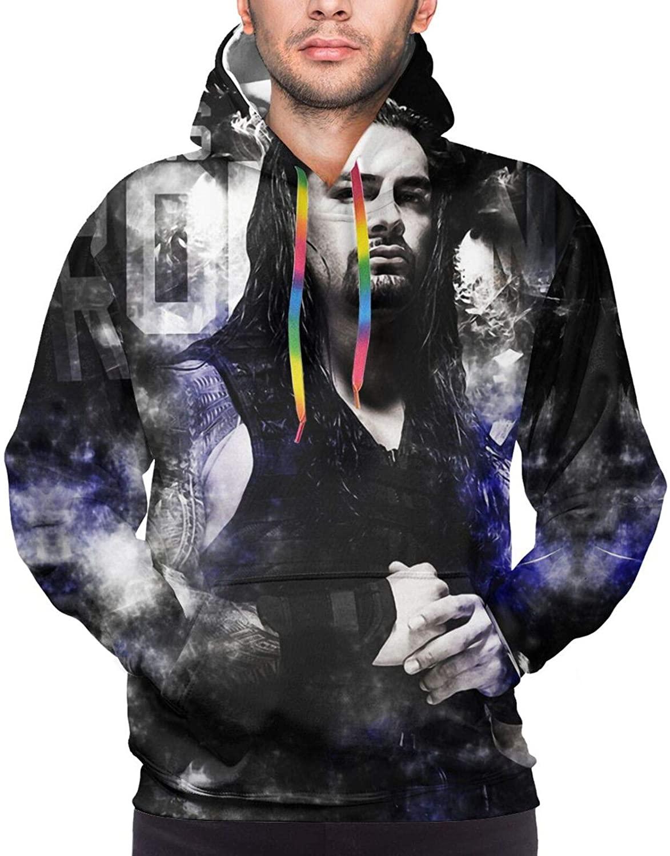 Men's Jacket Pullover Hooded Hoodie R-Oman R-Eigns 2, Youth Hoodie Sweatshirts Tops with Pocket Hoodies Large
