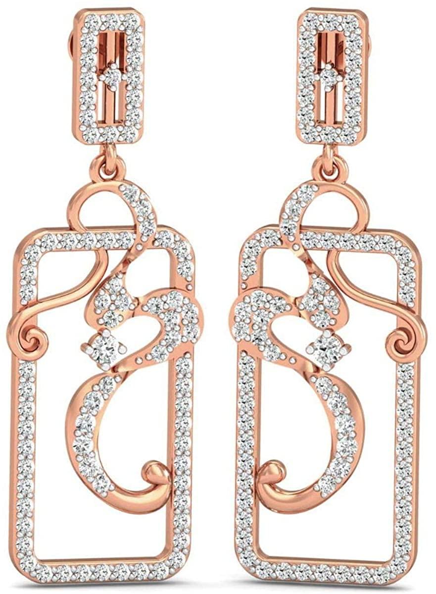 VVS IGI Certified Long Dangle Earrings For Women 14K White/Yellow/Rose Gold With 1.64 Ctw Natural Diamond Earrings, Earrings Sets, Engagement Earrings, Wedding Earrings
