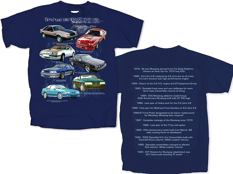 Joe Blow 79 to 93 Ford Fox Body Mustangs Seven Mustangs Mens Tee Shirt Tees