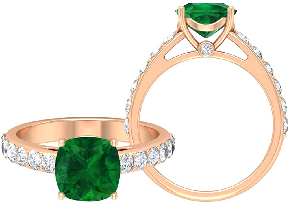 Lab Created Emerald Ring, 2.91 CT Gemstones, D-VSSI Moissanite 8.00 MM Solitaire Cushion Cut Ring, Crown Setting Engagement ring, Side stone ring, 18K Gold