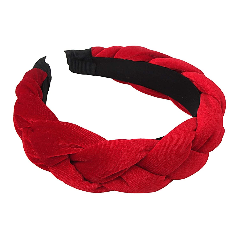 RINVEE Headbands for Women Velvet Braided Headbands Fashion Hairband Criss Cross Hair Accessories, Red