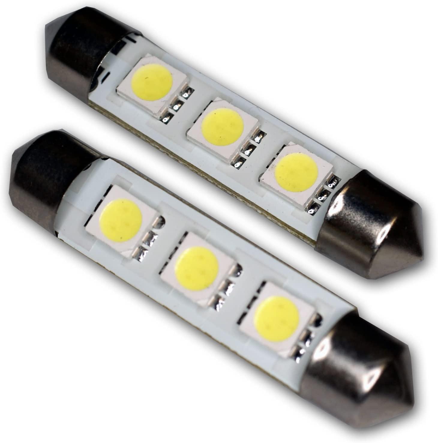 TuningPros LEDDL-42M-WS3 Dome Light LED Light Bulbs Festoom 42mm, 3 SMD LED White 2-pc Set