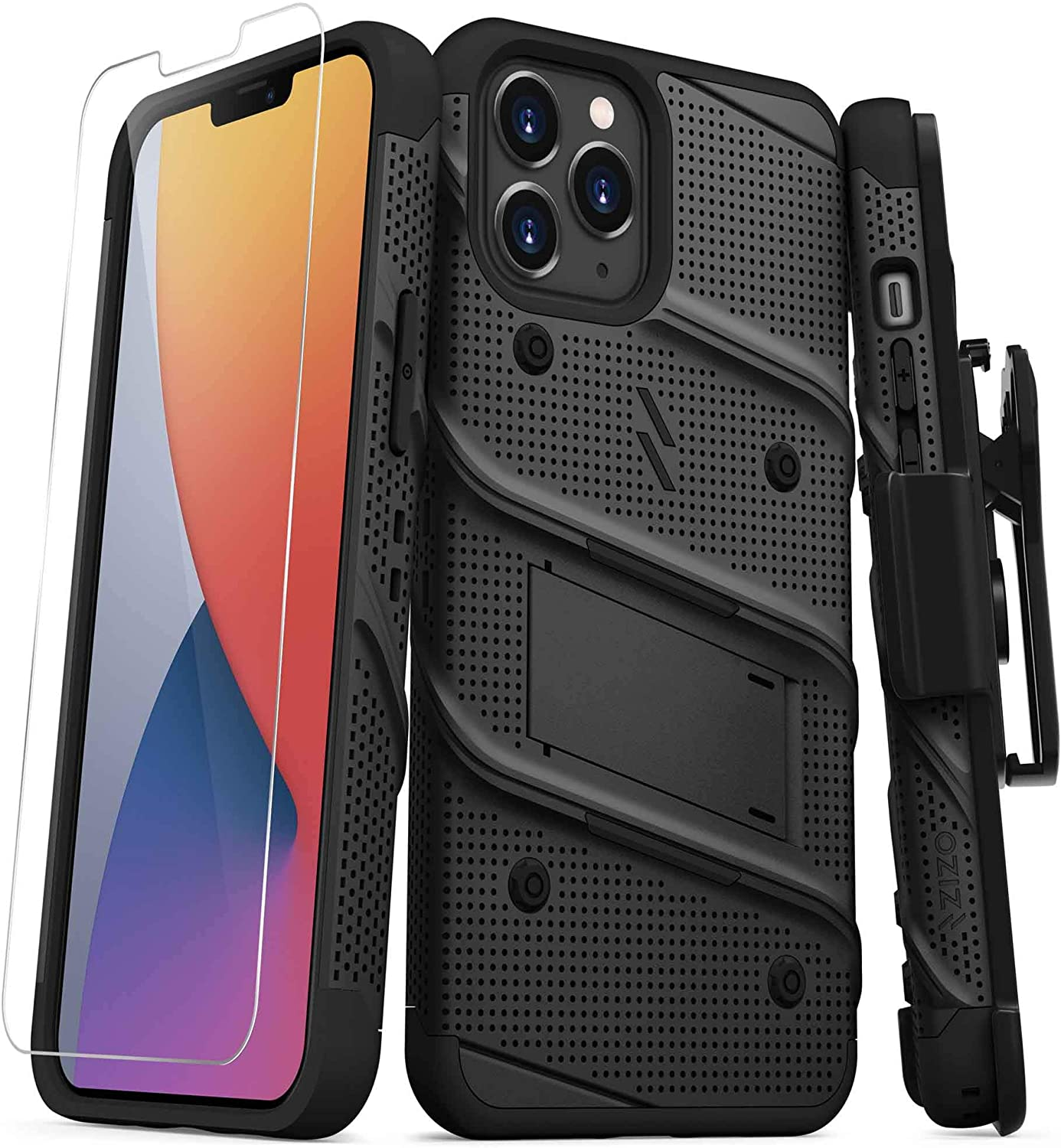 ZIZO Bolt Series for iPhone 12 Pro Max Case with Screen Protector Kickstand Holster Lanyard - Black