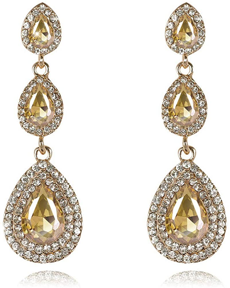UDORA Brides Teardrop Long Dangle Earrings for Bridal Bridesmaid Wedding Prom