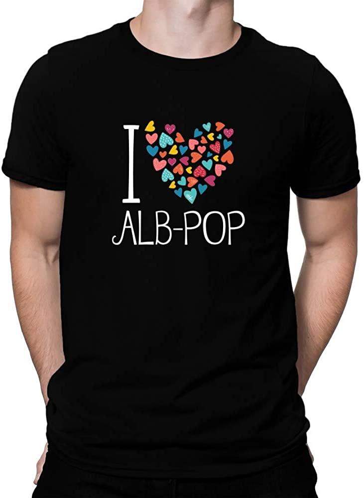 Teeburon I Love ALB-Pop Colorful Hearts T-Shirt