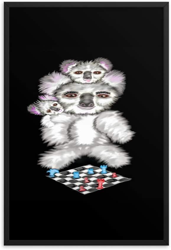 Koala Mum Teaching her Offspring to Play Chess. Framed Photo Paper Poster
