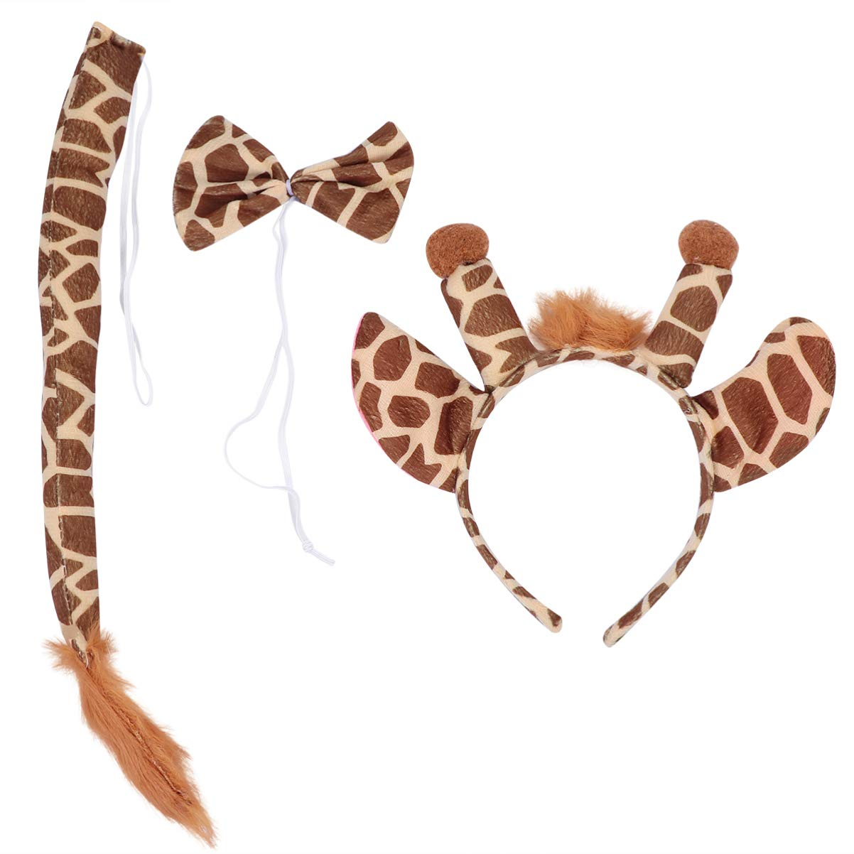Minkissy Kids Giraffe Costume Sets Fabric Cartoon Animal Headband Bowtie Tail Cosplay Costume Kit for Party Favor Baby Shower Gifts Halloween Christmas Carnival(Khaki)