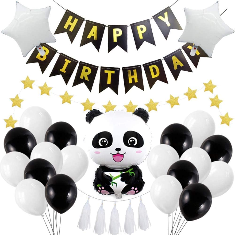 Cute Panda Party Supplies for Girls Panda,30Pcs Panda Theme Party Decorations Panda Happy Birthday Banner Panda Balloons and Party White Tassels Panda Baby Party Favor Decorations for Kids